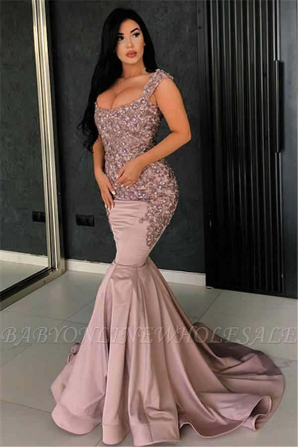 Robe de soirée sexy sirène rose | 2021 bretelles appliques longues robes de soirée