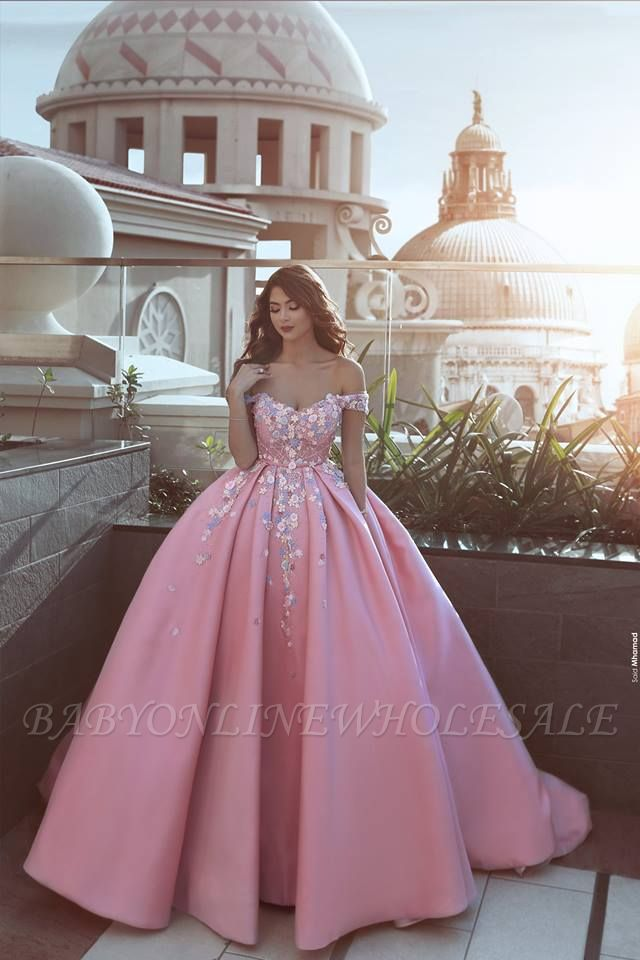 Glamorous Off-the-Shoulder Princess candy Pink Evening Dress With Appliques BA7675