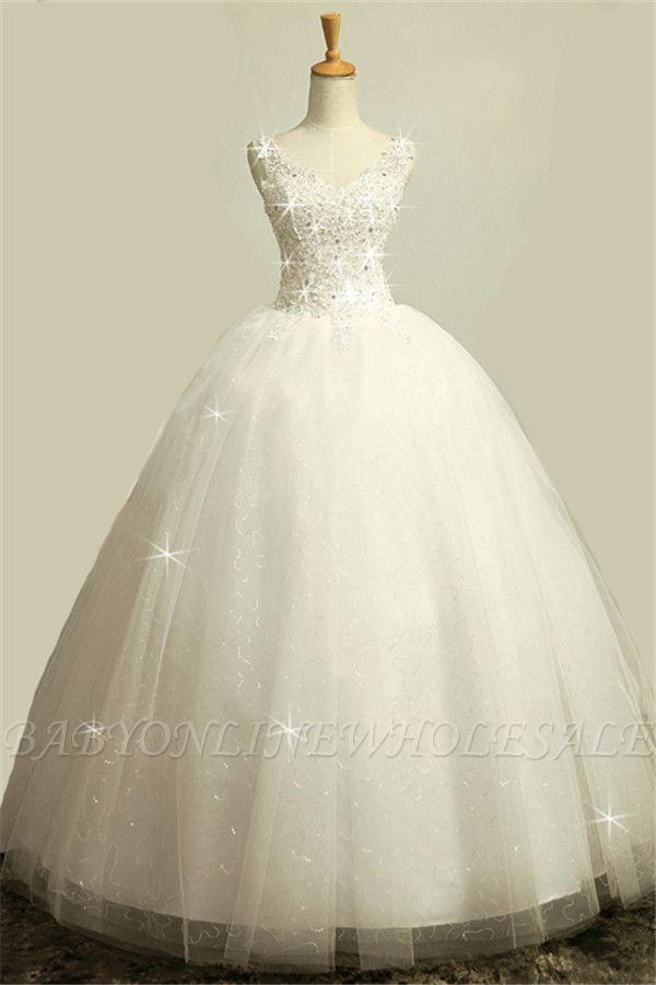 V-Neck Stunning Crystal Wedding Dresses Floor Length Ball Gown Lace-Up Charming Bridal Gowns