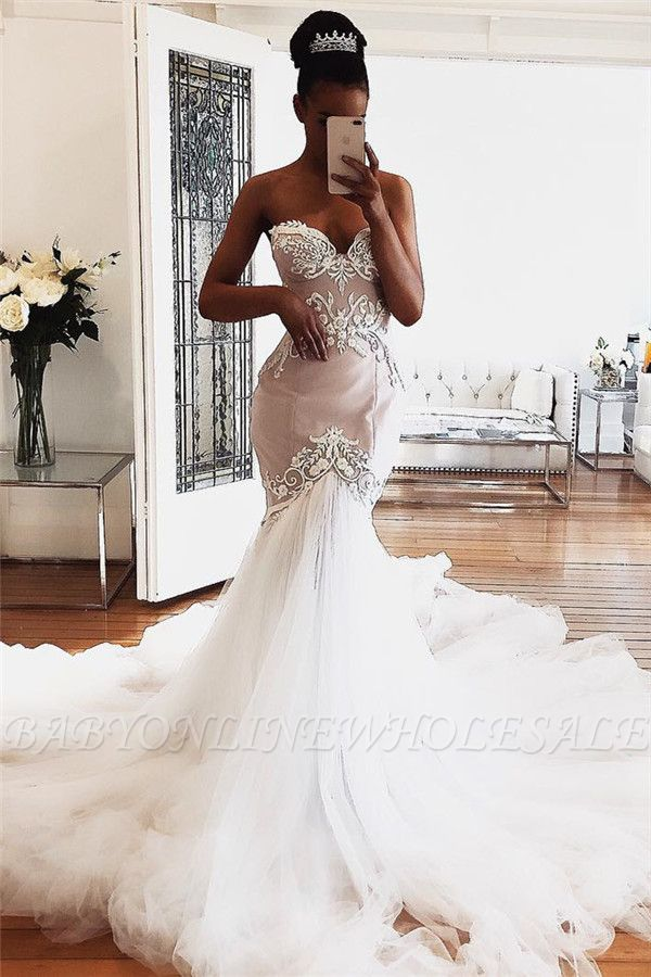 Sweetheart Lace Wedding Dresses Online | Sexy Sleeveless Mermaid Bridal Gowns