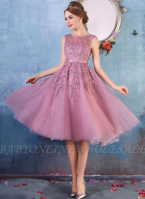 EMORY | A-Line Crew Tea longitud apliques de encaje corto vestidos de baile