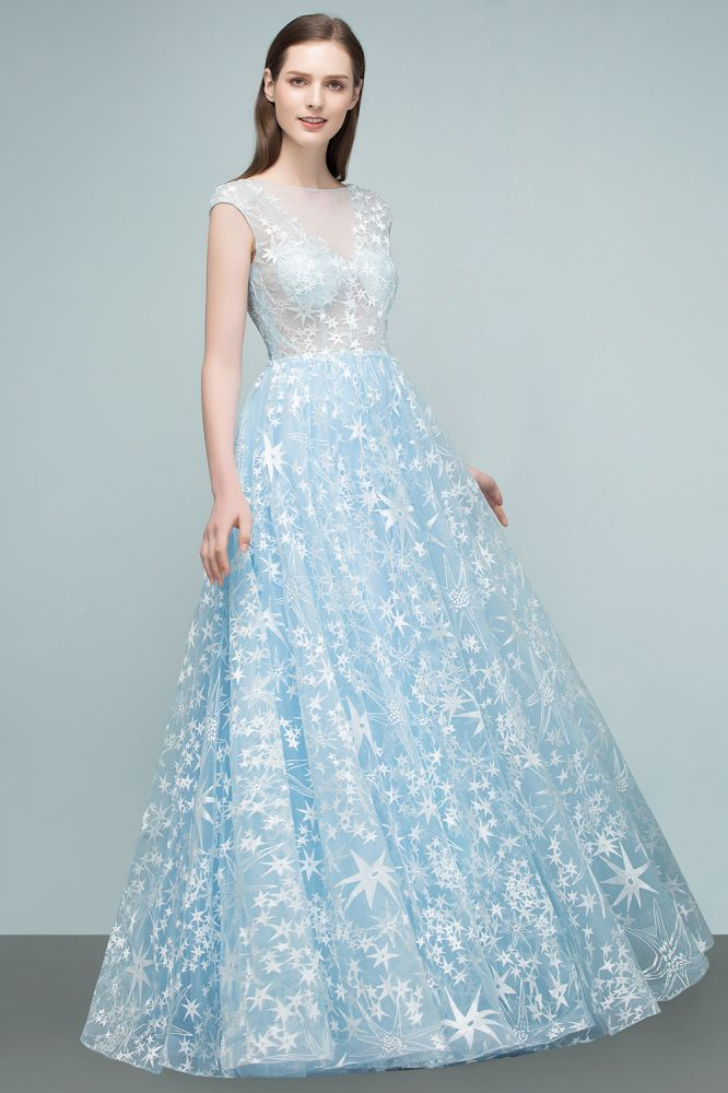 RHEA | A-line Cap Sleeves Long Appliqued Tulle Prom Dresses