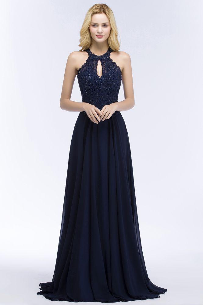 PANSY | A-line Keyhole Neckline Halter Long Beading Prom Dresses