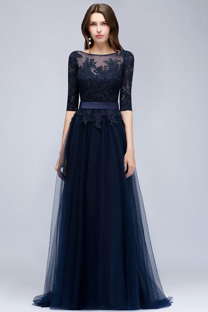 NANA   A-line Half Sleeves Floor Length Slit Appliqued Tulle Prom Dresses with Sash