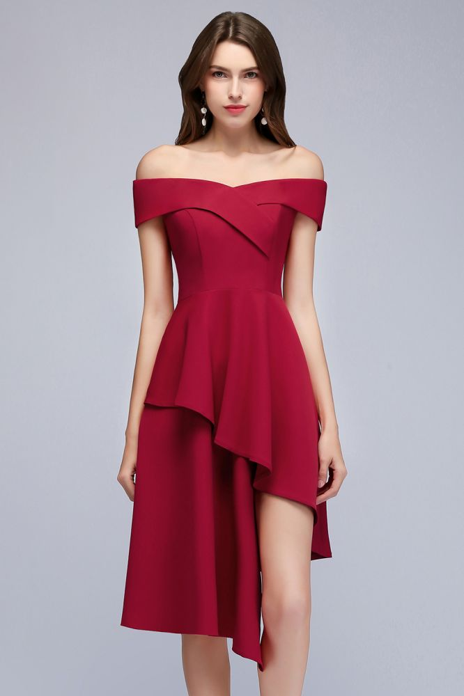 A-line Asymmetrical Short Off-the-shoulder Burgundy Prom Dresses