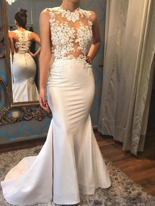 Satin Mermaid Scoop Sleeveless Applique Court Train Wedding Dresses