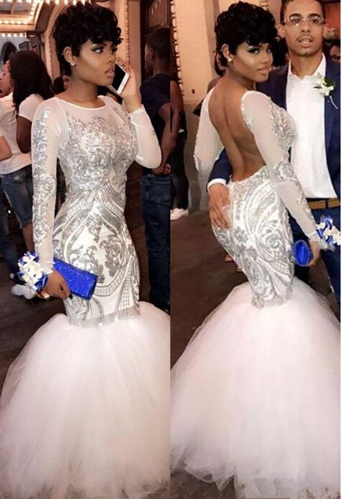 ROSEMARIE | Mermaid Long Sleeves Floor Length Sequined Patterns Tulle Prom Dresses