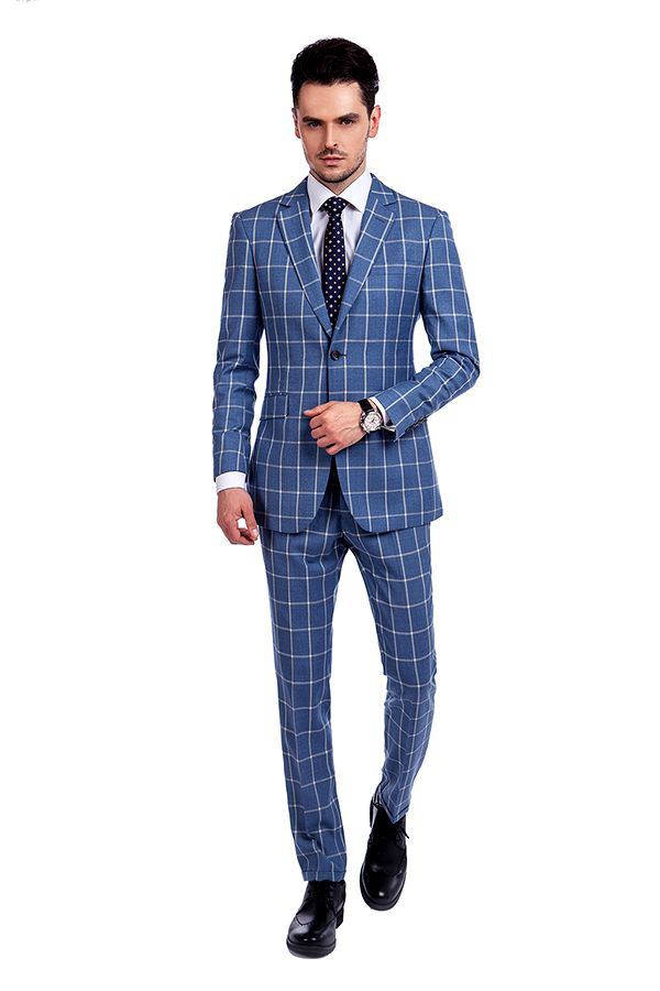 Blue Windowpane Single Breasted Slim Fit Classic Suit