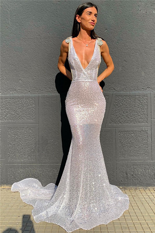Deep V-neck Sparkling Sequins Beading Sexy Evening Gowns | Backless Mermaid Sleeveless Prom Dresses With Court Train