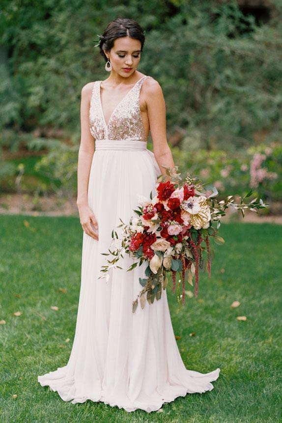 Plunging Neck Sequined Open Back Sleeveless Dresses