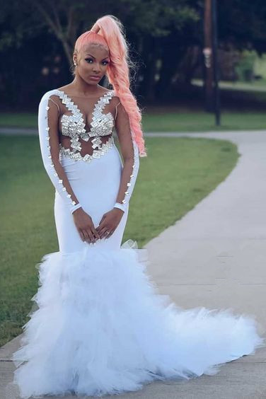 Sexy Illusion Long Sleeves Sequins Tulle Train Mermaid White Prom Dresses