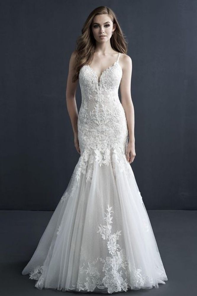 Delicate Sweetheart Mermaid Tulle Lace-Appliques Sleeveless Wedding Dress
