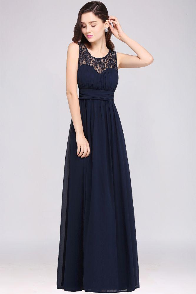 CHELSEA   Sheath Round neck Floor-length Navy Blue Prom Dress