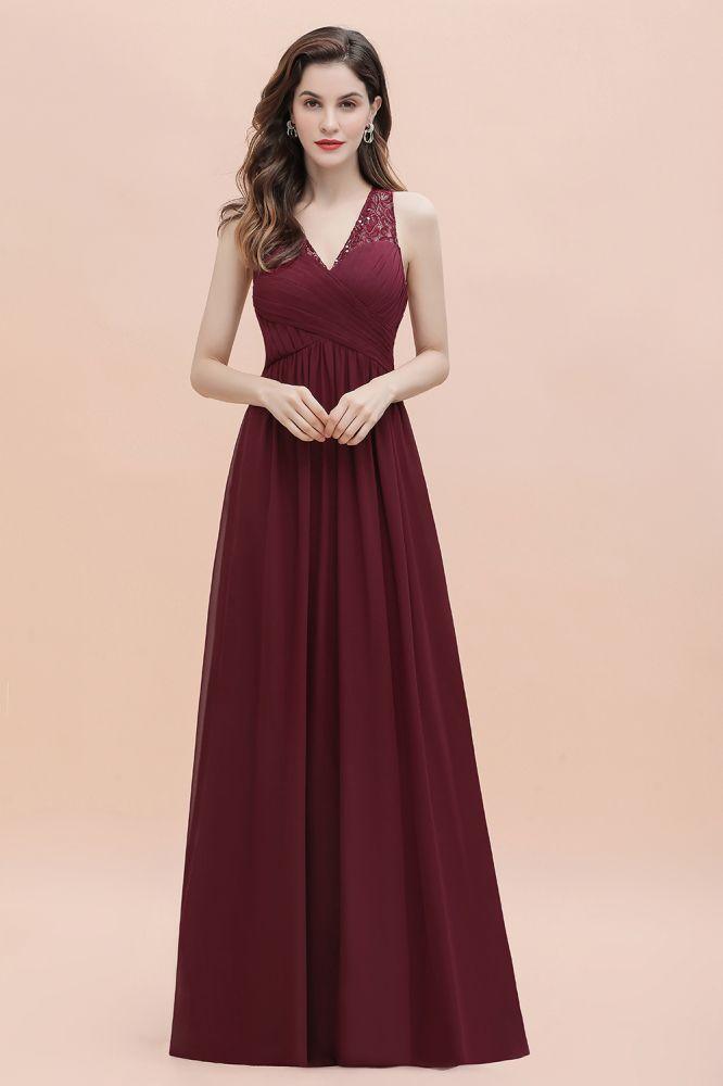 V-Neck Lace Ruffles Bridesmaid Dress Sequins