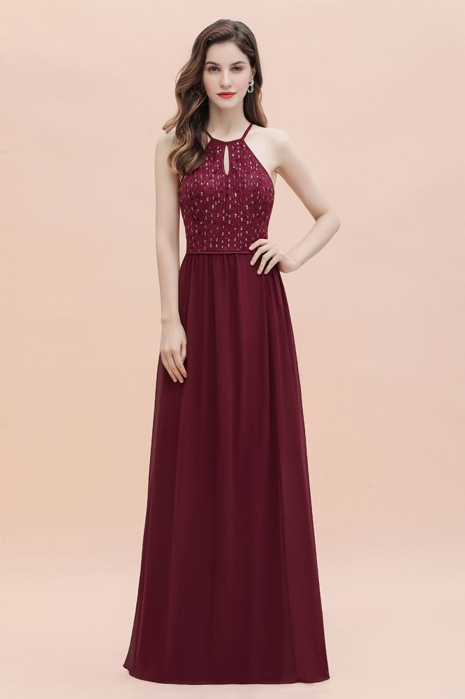 Halter Sequins A-line Evening Dress Chiffon Elegant Party Maxi Dress