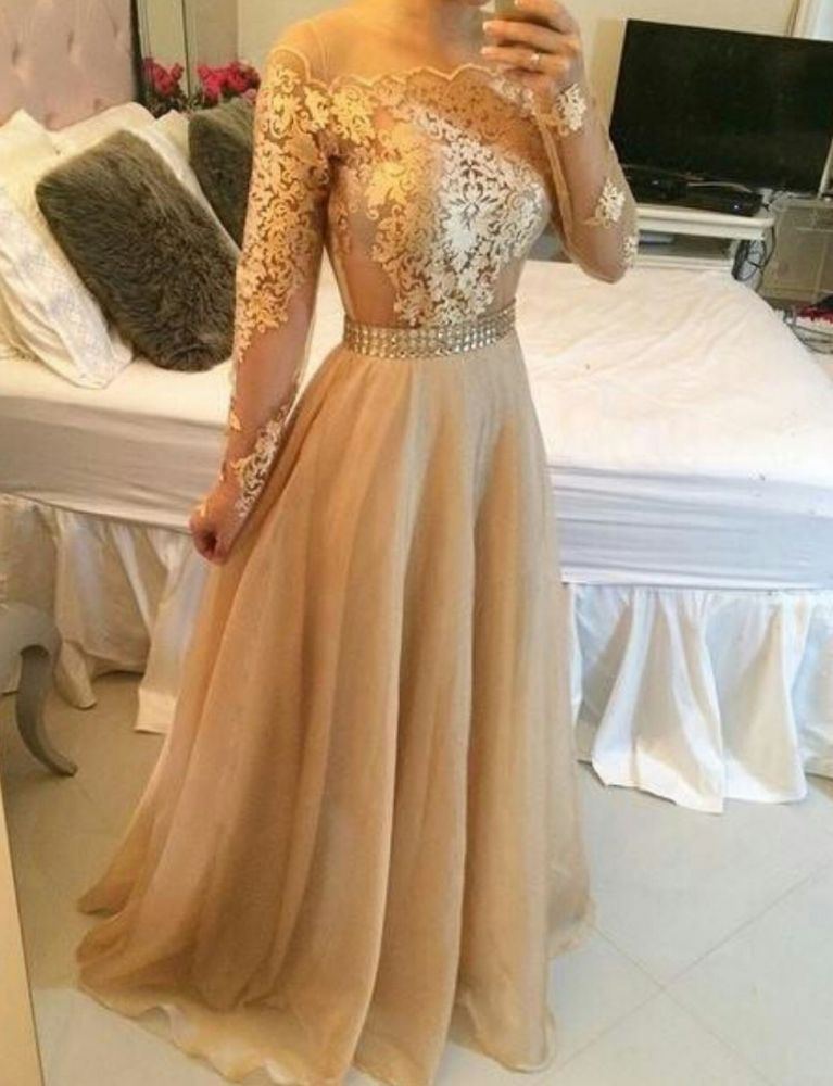 Off Shoulder Long Sleeves Sheer Prom Dresses A-line Crystals Sexy Formal Evening Gowns