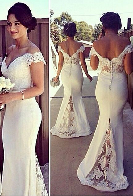 Elegant Sweetheart Lace Appliques Mermaid Dresses