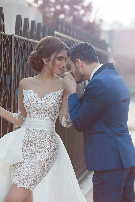 Vestido de novia de manga larga con tren desmontable Último vestido de novia de encaje corto BA2363