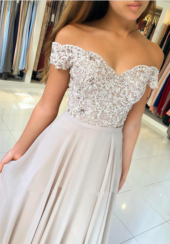 Off The Shoulder Lace Prom Dresses Online | Sheer Tulle Chiffon Long Formal Evening Gowns with Buttons