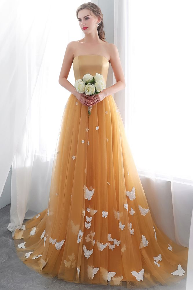 NELL   Aline Floor Length Strapless Appliques Tulle Evening Dresses with Robbion