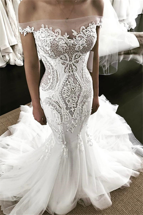 Off-the-shoulder Strapless Mermaid Lace Wedding Dress