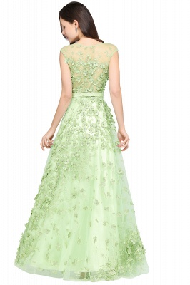 ARDEN | A-line Floor Length Tulle Green Prom Dresses with Appliques_3