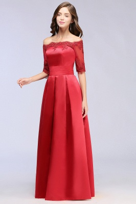 Une ligne de demoiselle d'épaule à l'épaule lacets appliques robes de soirée_11