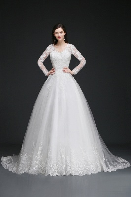 AMAYA | Ball Gown V-Neck Tulle Newest Wedding Dresses with Lace_4