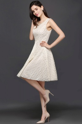 CHRISTINE | Princess Scoop neck Knee-length Lace Sexy Prom Dress_5