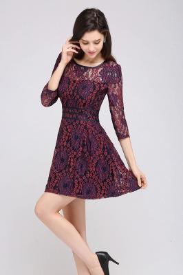 Elegantes Spitze Kleid Kurz | A-Linie Kleider Mit Langarm_5