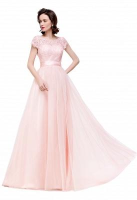ELLIANA | A-line Short Sleeve Chiffon Bridesmaid Dresses with Ribbon Bow Sash_13