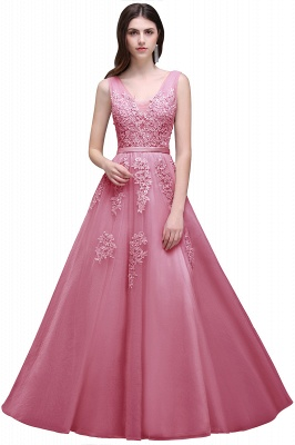 ADDYSON | A-line Floor-length Tulle Bridesmaid Dress with Appliques_4