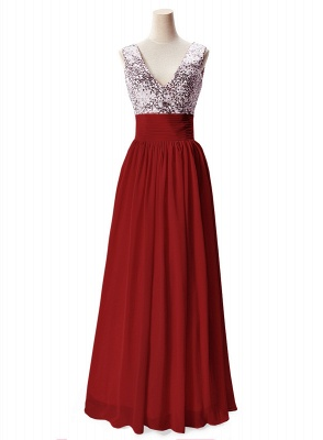 AISLINN | A-line V-neck Chiffon Party Dress With  Sequined_2