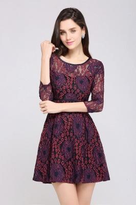 Elegantes Spitze Kleid Kurz | A-Linie Kleider Mit Langarm_6