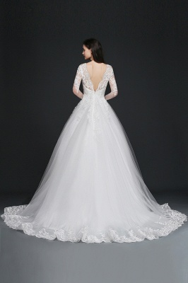 AMAYA | Ball Gown V-Neck Tulle Newest Wedding Dresses with Lace_3
