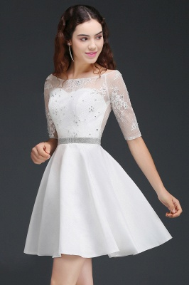 ALICIA | A Line Jewel White Short Sleeve Satin Homecoming Dresses With Lace_2