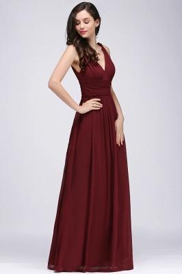 COLLINS | V-Neck A-line Floor-length Burgundy Chiffon Evening Dresses_8