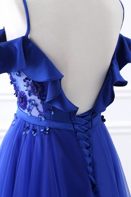 Stunning Off the shoulder blue Tulle ball gown prom dresses_7
