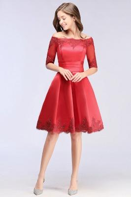 ELSIE | A-line Off-shoulder Half Sleeves Short Lace Appliques Prom Dresses_11
