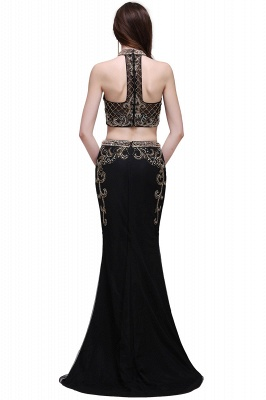 BRAELYN | Sheath Halter Black Two Pieces Prom Dresses With Crystal_6