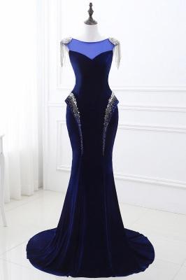 CHARLIE   Mermaid Velvet Navy Blue Royal Prom Dress with crystals_1