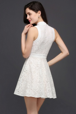 CHLOE | Princess High neck Knee-length White Cute Homecoming Dress_4