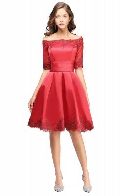 ELSIE | A-line Off-shoulder Half Sleeves Short Lace Appliques Prom Dresses_12