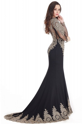 Crystal   Sexy Mermaid Lace Appliques Long Sleeves Prom Dresses with Beadings_11
