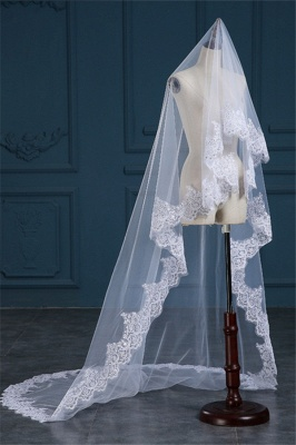 Luxury Tulle Lace Applique Edge Wedding Veil with Sequined_3