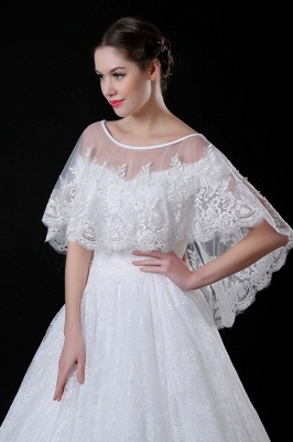Tulle /Lace White Sleeveless Wedding Wraps with Appliques_3