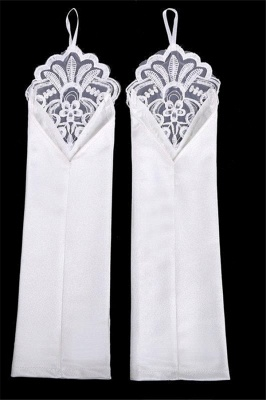 Fashion Satin Fingerless Elbow Length Party Gloves with Lace_6