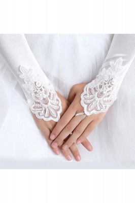 Fashion Satin Fingerless Elbow Length Party Gloves with Lace_4