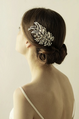 glamour Alloy Imitation Perles Occasion spéciale Combs-Barrettes Headpiece avec strass_3
