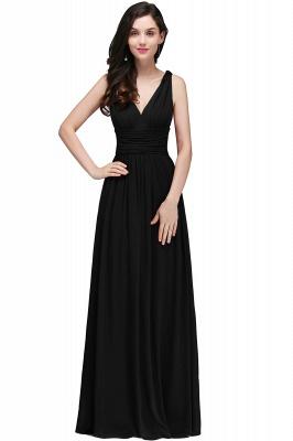 COLLINS | V-Neck A-line Floor-length Burgundy Chiffon Evening Dresses_5